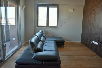 Apartament 2+1 me qera ne rrugen Janos Hunyadi ne Tirane. Ndodhet ne katin e 11 te nje pallati te r