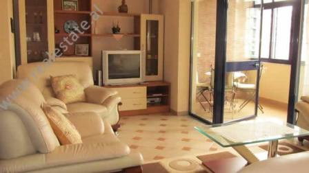 Two bedroom apartment for rent in Perlat Rexhepi Street in Tirana. The flat is located in one of th