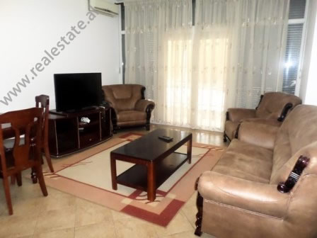 Two bedroom apartment for rent in Pjeter Budi Street in Tirana. It is situated on the 7-th floor of