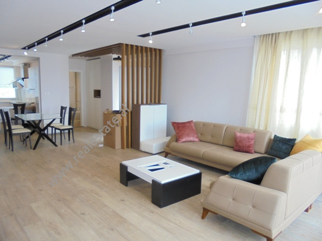 Modern duplex apartment for rent in Kodra e Diellit residence, in Tirana, Albania.  It is located