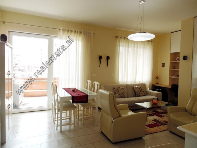 Apartment for rent close to Bogdaneve Street in Tirana.  It is situated on the 6-th floor in a new