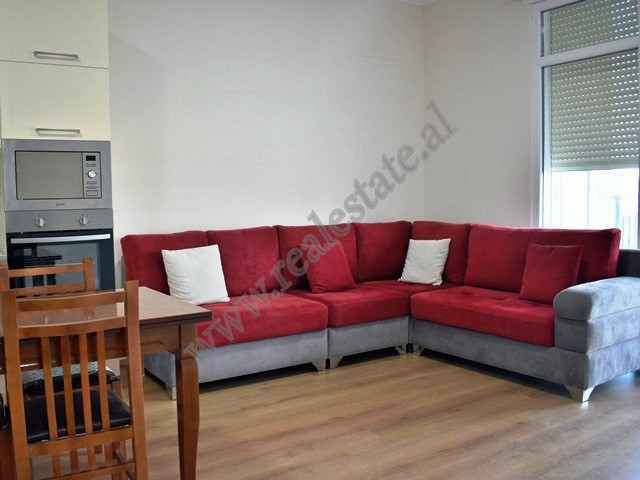 Two bedroom apartment for rent near Beniamin Kruta Street in Tirana. It is situated on the second f