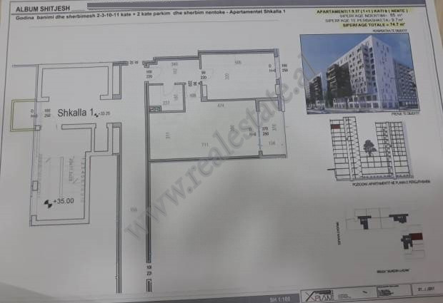 One bedroom apartment for sale in Muhedin Llagani street in Tirana, Albania.