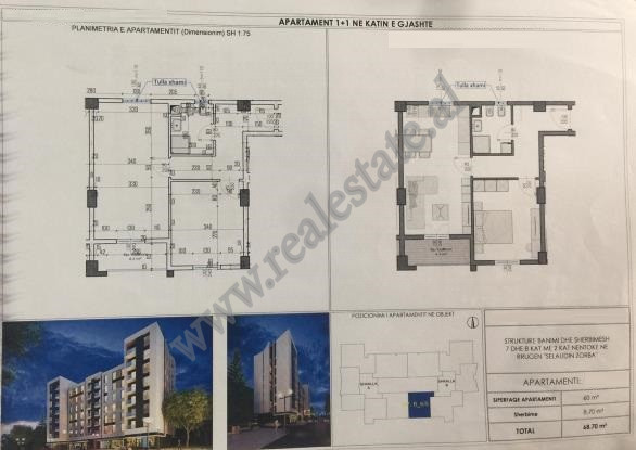 One bedroom apartment for sale in Selaudin Zorba, close to American 2 Hospital in Tirana.