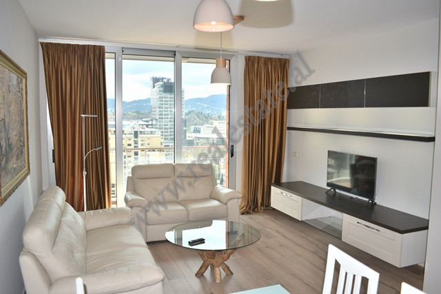Two bedroom apartment for rent near Deshmoret e Kombit Boulevard in Tirana, Albania.