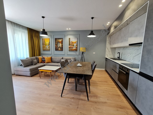 Modern one-bedroom apartment for rent in Fiori Di Bosco complex in Tirana. Positioned in a new and