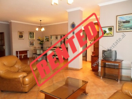 Apartment for rent in Bllok area in Tirana.  The apartment is situated on the sixth floor of a new