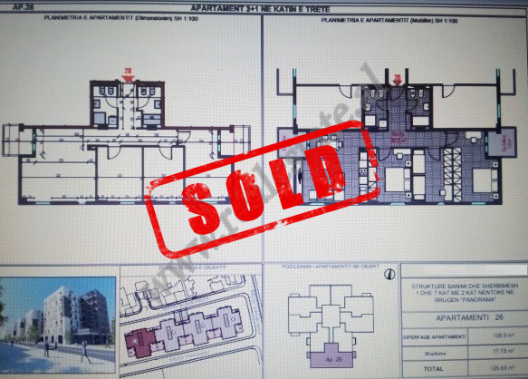 Apartament 3+1 per shitje prane kompleksit Panorama ne Tirane. Ndodhet ne katin e 3-te banim te nje